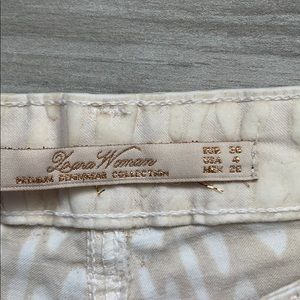 Zara Jeans - Cream Skinny Jeans with suede leopard print detail